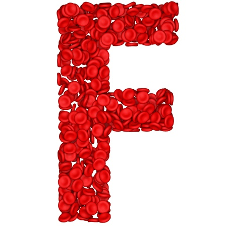 Letter - E made from red blood cells. Isolated on a white. photo