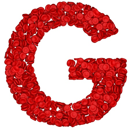 white blood cell: Letter - G made from red blood cells. Isolated on a white.