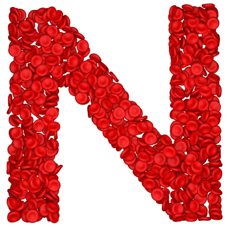 Letter - N made from red blood cells. Isolated on a white. photo