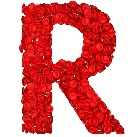 blood cell: Letter - R made from red blood cells. Isolated on a white.