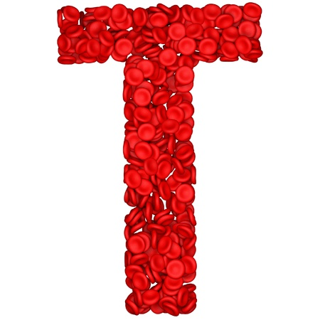 blood cells: Letter - T made from red blood cells. Isolated on a white.