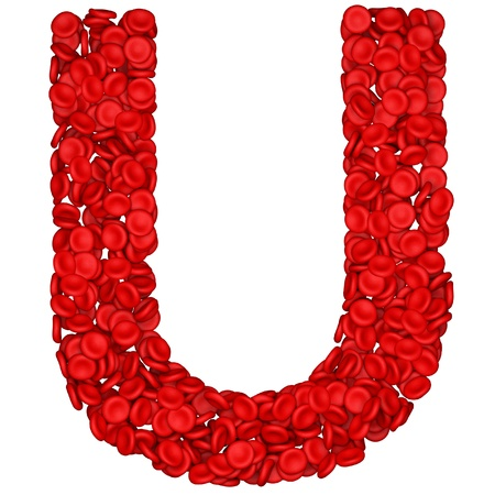 Letter - U made from red blood cells. Isolated on a white. photo