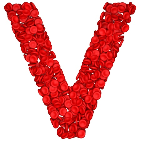 bloodcell: Letter - V made from red blood cells. Isolated on a white. Stock Photo