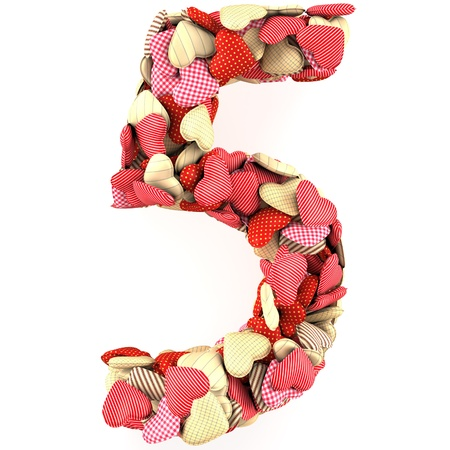 Number Five, made from soft cushions in the shape of Hearts. Isolated on white photo