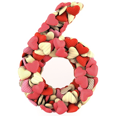 Number Six, made from soft cushions in the shape of Hearts. Isolated on white photo