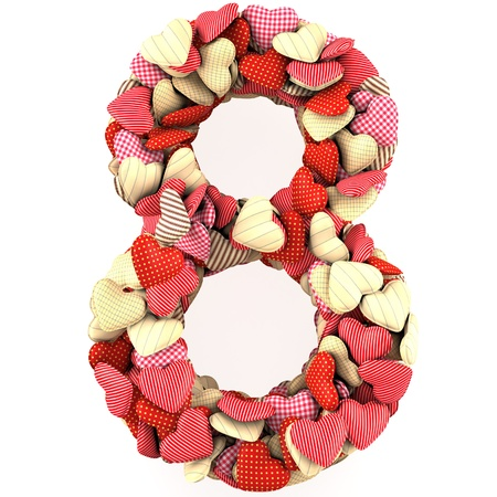 Number Eight, made from soft cushions in the shape of Hearts. Isolated on white photo