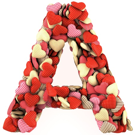 Letter A, made from soft cushions in the shape of Hearts. High-quality rendering 免版税图像