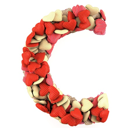 Letter C, made from soft cushions in the shape of Hearts. High-quality rendering photo