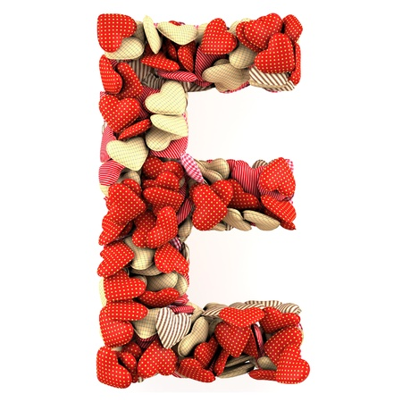 Letter E, made from soft cushions in the shape of Hearts. High-quality rendering photo