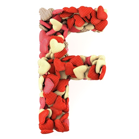 Letter F, made from soft cushions in the shape of Hearts. High-quality rendering photo