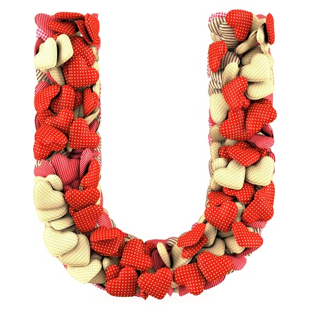 Letter U, made from soft cushions in the shape of Hearts. High-quality rendering photo