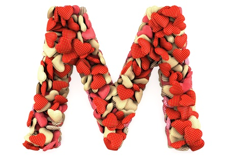 Letter M, made from soft cushions in the shape of Hearts. High-quality rendering Stock Photo - 12027355