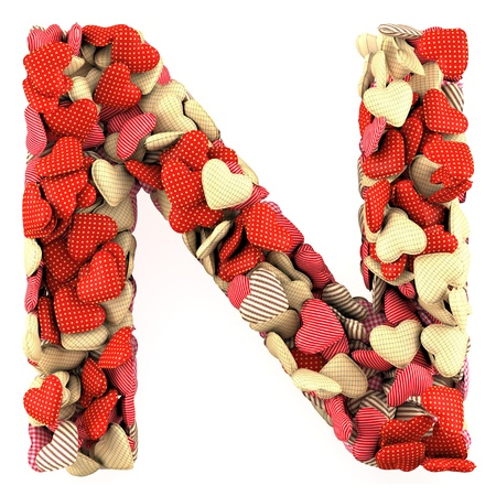Letter N, made from soft cushions in the shape of Hearts. High-quality rendering