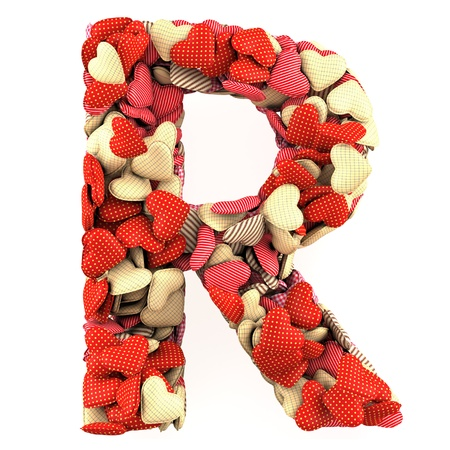 Letter R, made from soft cushions in the shape of Hearts. High-quality rendering photo