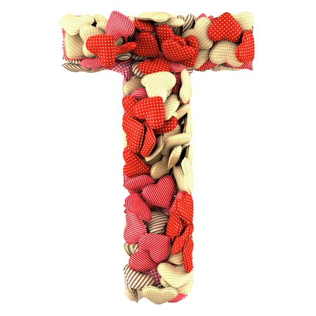Letter T, made from soft cushions in the shape of Hearts. High-quality rendering photo