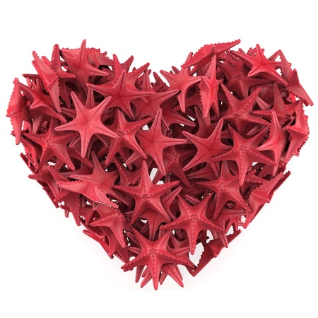 finger fish: Heart made of Red sea star. Isolated on white. 3d render Stock Photo