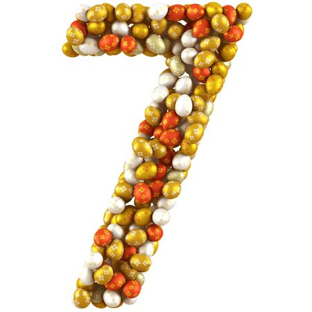 Number seven made of Easter Eggs  Isolated on white  3d render photo