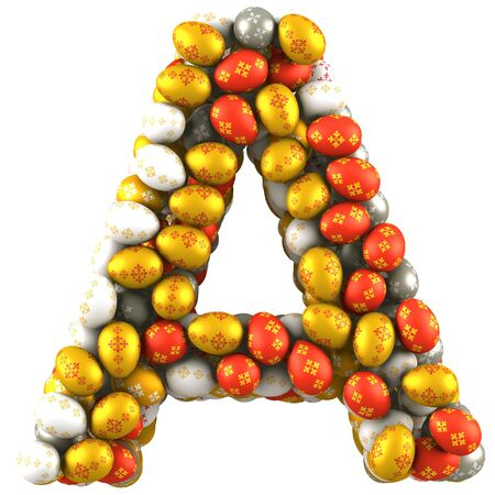 Letter A made of Easter Eggs  Isolated on white  3d render