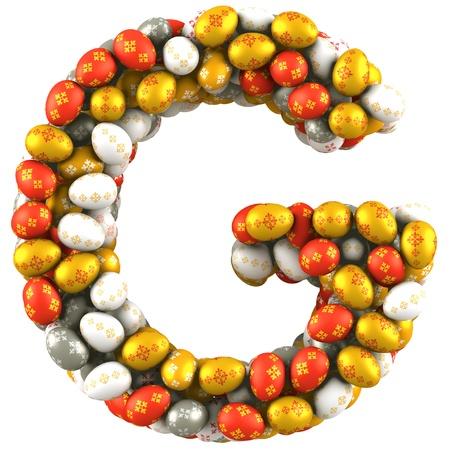 metallic  sun: Letter G made of Easter Eggs  Isolated on white  3d render