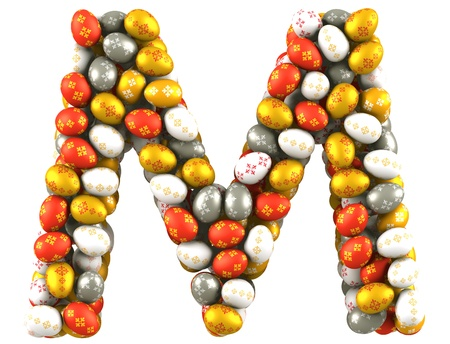 Letter M made of Easter Eggs  Isolated on white  3d render photo