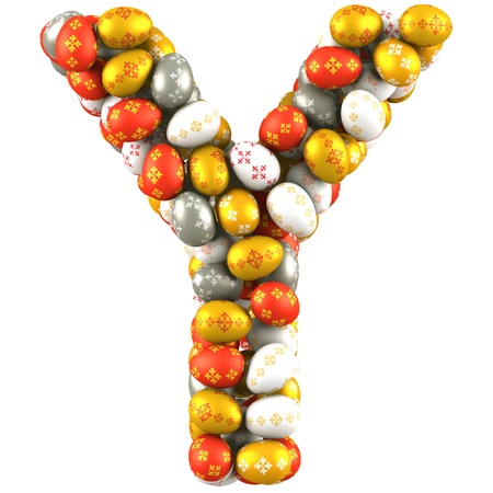 Letter Y made of Easter Eggs  Isolated on white  3d render photo
