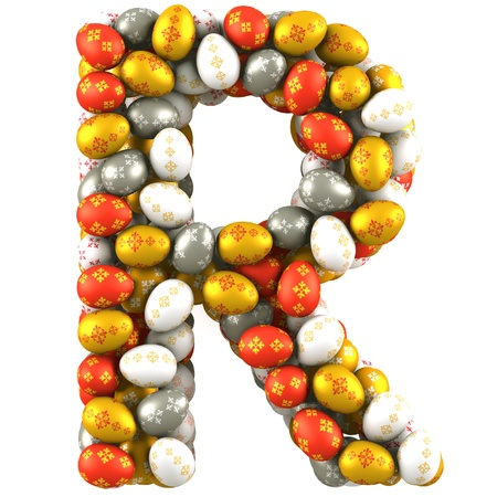 letter r: Letter R made of Easter Eggs  Isolated on white  3d render