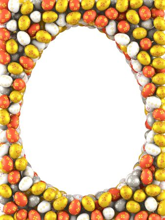 Easter background made of many Eggs  3d render photo