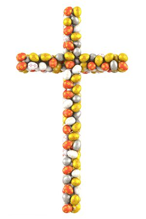 Cross made of many Easter Eggs  3d render photo