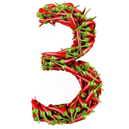 Number 3 made from red pepper  Isolated on a white  3D High-quality rendering