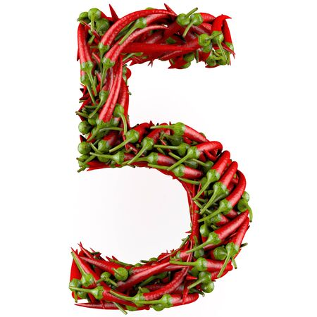 Number 5 made from red pepper  Isolated on a white  3D High-quality rendering photo
