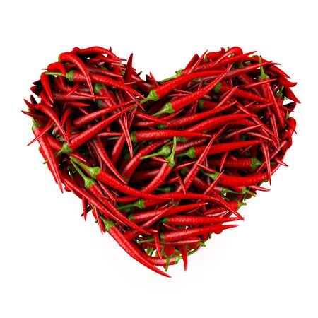 Heart made of Chili Pepper  Isolated on a white  3D High-quality rendering Stock Photo