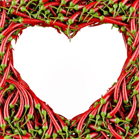 Heart made of Chili Pepper  Isolated on a white  3D High-quality rendering photo