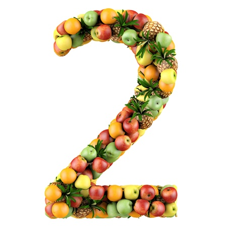 Number two made from 3d fruits  Isolated on a white  photo