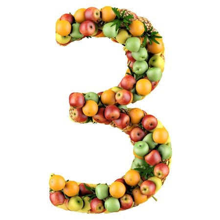 Number three made from 3d fruits  Isolated on a white  photo