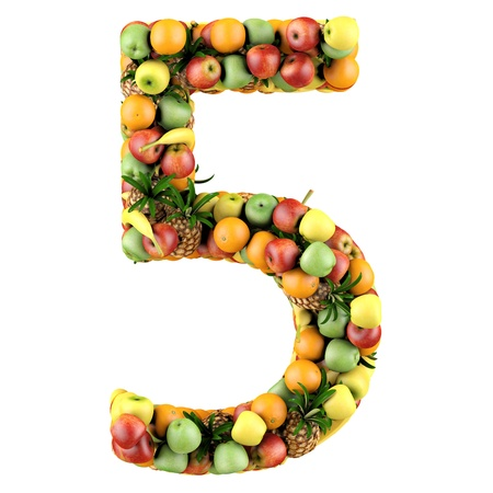 shaped: Number five made from 3d fruits  Isolated on a white