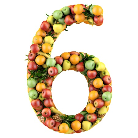 Number six made from 3d fruits  Isolated on a white