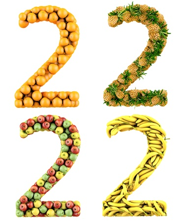 Number 2, made of oranges, pineapples, apples and bananas  3d render  Isolated on a white