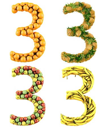 Number 3, made of oranges, pineapples, apples and bananas  3d render  Isolated on a white  photo