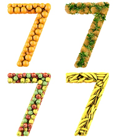Number 7, made of oranges, pineapples, apples and bananas  3d render  Isolated on a white  photo
