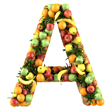 Letter - A made of fruits. Isolated on a white. photo