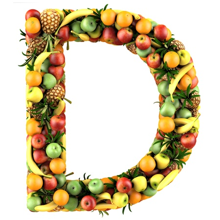 vitamin d: Letter - D made of fruits. Isolated on a white. Stock Photo