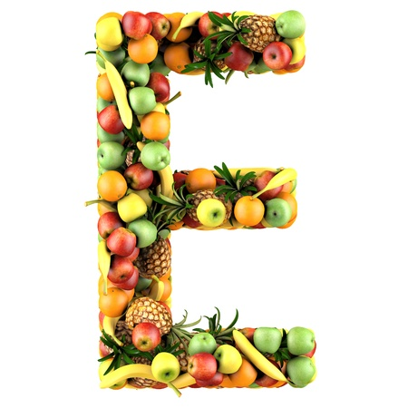 e white: Letter - E made of fruits. Isolated on a white. Stock Photo