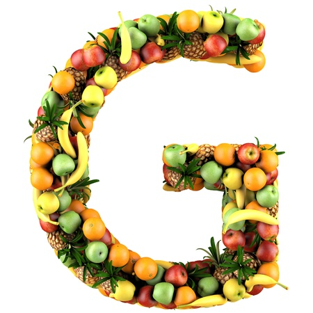 Letter - G made of fruits  Isolated on a white  photo