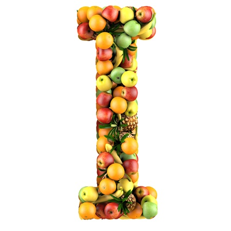 health collage: Letter - I made of fruits  Isolated on a white  Stock Photo