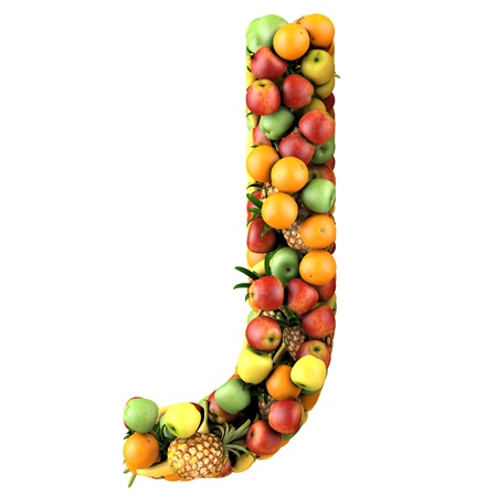Letter - J made of fruits  Isolated on a white  photo