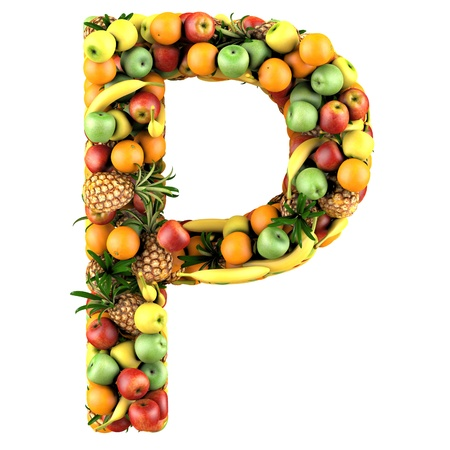 Letter - P made of fruits  Isolated on a white  photo