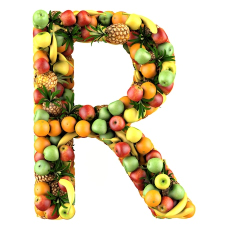 Letter - R made of fruits  Isolated on a white  photo