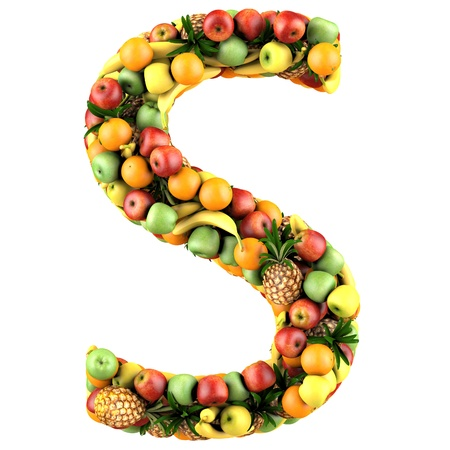 Letter - S made of fruits  Isolated on a white  photo