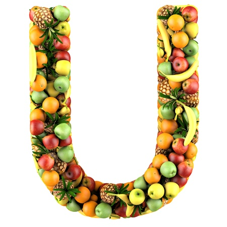 Letter - U made of fruits  Isolated on a white  photo