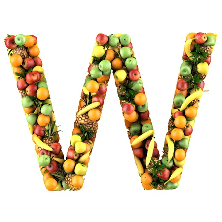 Letter - W made of fruits  Isolated on a white  photo